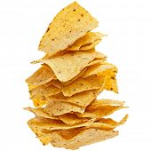 picture of nachos  - heap of Mexican nachos chips isolated on white background - JPG