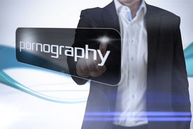 picture of pornography  - Businessman pointing to word pornography against abstract blue line son white background - JPG