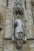 Statue On Town Hall, Stadhuis, Bruges.