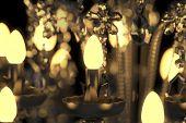 Energy saving lamps glowing in crystal chandelier (3D Rendering)