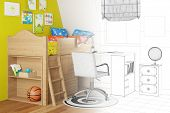 CAD sketch of nursery in planning with wireframe and render part (3D Rendering)