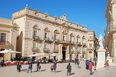 SIRACUSA, ITALY - JENUARY 03, 2015: baroque architecture of Palace