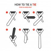 ������, ������: How to tie a tie instructions Four In Hand knot Vector