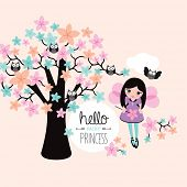 hello little fairy princess and owl illustration flower tree background kids template cover design print in vector