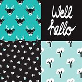 Cute seamless winter deer animals hearts and tree forest background pattern and well hello quirky typography paper design in vector