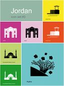 Landmarks of Jordan. Set of color icons in Metro style. Editable vector illustration.