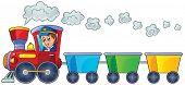 Train with three empty wagons - eps10 vector illustration.