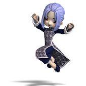encantadora figura dos desenhos animados de china em roupa azul escura