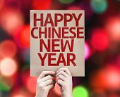 Happy Chinese New Year card with colorful background with defocused lights