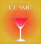 Drinks List Cosmopolitan With Red & Golden Background