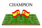 Football Champion Field With Spanish Flag