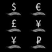 Currencies Laurels Black And White