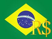 Real Currency Sign Over The Brazilian Flag