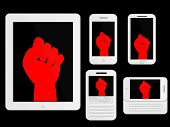 Mobile Devices With Red Protest Sign White Icons