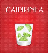 Drinks List Caipirinha With Red Background