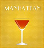 Drinks List Manhattan With Golden Background