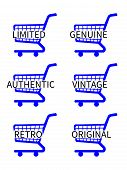 Blue Shopping Cart Icons With Vintage Texts