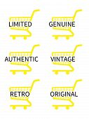 Yellow Shopping Cart Icons With Vintage Texts