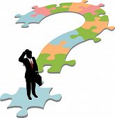 Business Man On Question Mark Jigsaw Puzzle Solution