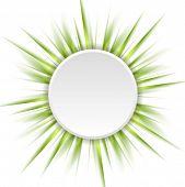 Green beams and white circle. Vector design eps 10