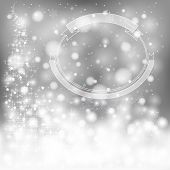 Silver Festive Christmas Background With Snowflakes And Sparkling Lights, Create By Vector