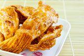 foto of crisps  - caramelized crisps thai dessert made of flour and sugar - JPG