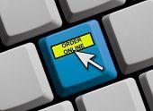 Blue Computer Keyboard showing order online