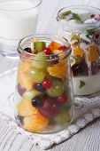 Pieces Of Fresh Fruit With Yogurt In A Glass Jar Vertical