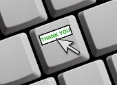 Computer keyboard showing thank you