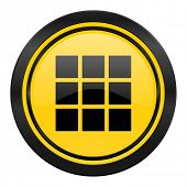thumbnails grid icon, yellow logo, gallery sign