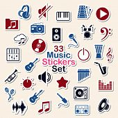 Set of music icon stickers