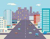 stock photo of car ride  - car ride driving street background flat vector illustration - JPG