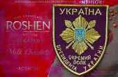Illustrative editorial. Chevron of Ukrainian Special Regiment of President..With logo Roshen Inc. Trademark Roshen is property of ukrainian president Poroshenko.At December 20,2014 in Kiev, Ukraine