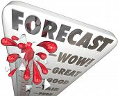 Forecast word on a thermometer measuring your prediction, estimate, expectation or projection for budget and financial purposes such as earnings, profit or other money measurement