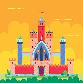 Cartoon Magic Fairytale Castle Flat Design Icon Summer Landscape Background Template Vector Illustra