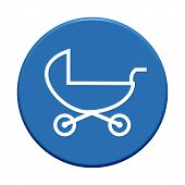 Round Button with baby buggy symbol