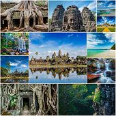 Collage of Cambodia travel images of tourist landmarks