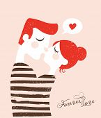 Happy Valentines day cards with young couple kissing