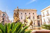 Artemide Fountain In Syracuse, Sicily, Italy