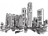 Singapore skyline. View from river side. Fast hand drawn sketch