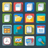 Flat Style Icon Set For Web And Mobile Application. Basic Icons, Document, Folder, Mail, Time, Searc