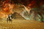 Step Pyramid And Carina Nebula (elements Of This Image Furnished By Nasa)