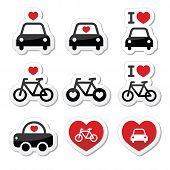 I love cars and bikes icons set