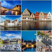 Mosaic collage storyboard of Belgium tourist views travel images
