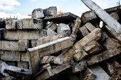 The Big Heap Of The Damaged Concrete Blocks