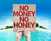 No Money No Honey card with a beach on background