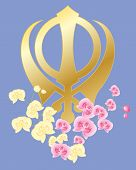 Sikh Symbol With Orchids