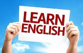 Learn English card with a beautiful day