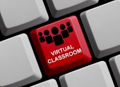 foto of classroom  - A red Computer Keyboard showing virtual classroom - JPG