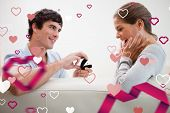 picture of propose  - Man making a proposal of marriage against love heart pattern - JPG